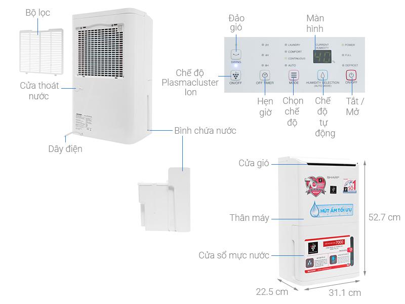 Máy ION và HÚT ẩm Sharp DW-D12A-W