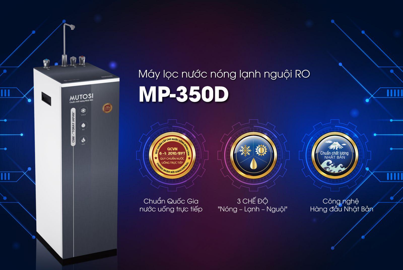 Máy lọc nước nóng lạnh nguội Mutosi MP-350D-BK