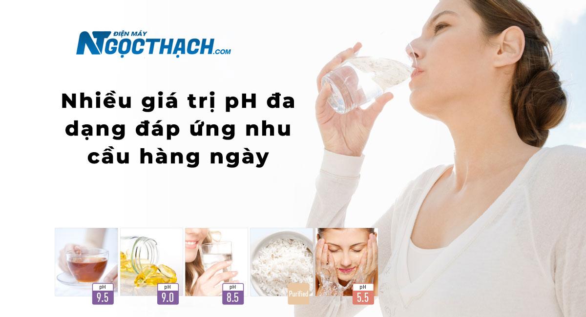 Nhiều giá trị pH đa dạng đáp ứng nhu cầu hàng ngày