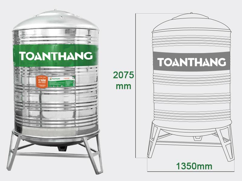 Bồn nước inox 2000l đứng Toàn Thắng (TT2000D F1140)