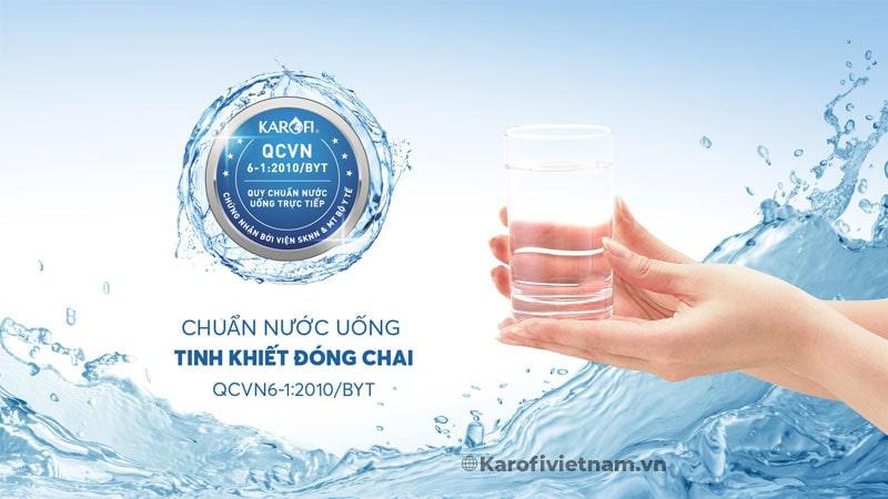 Trải qua nhiều quy trình kiểm định chặt chẽ, nguồn nước sau lọc từ máy lọc nước nóng lạnh Karofi KAD-D66 đã được Viện Sức khỏe nghề nghiệp & Môi trường – Bộ Y Tế công nhận Nước sau lọc đạt chuẩn nước uống tinh khiết đóng chai QCVN 6-1:2010 BYT.