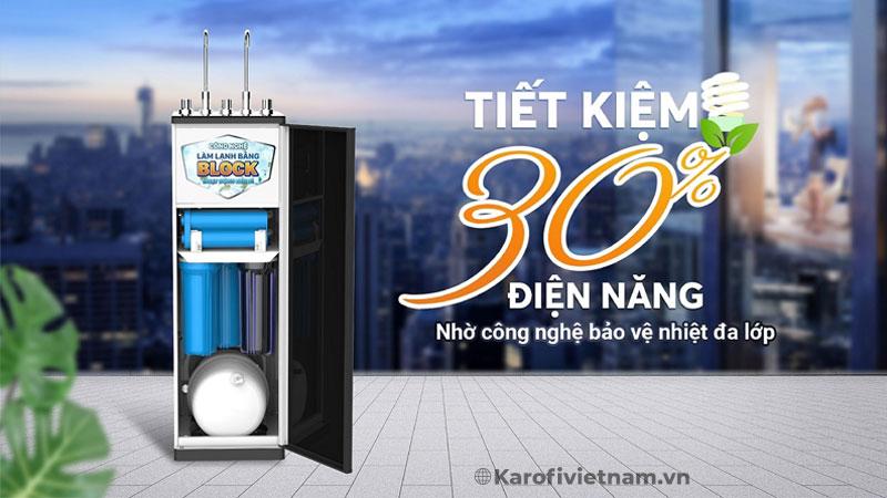 Sản phẩm giúp tiết kiệm 30% điện năng so với các máy nóng lạnh thông thường nhờ công nghệ bảo vệ nhiệt đa lớp